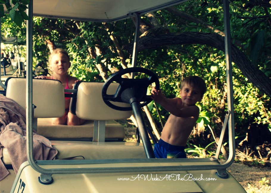 Kids on a golf cart in Isla Mujeres