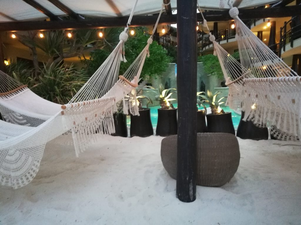 Hammocks in front of Indigo Beach Club in Playa del Carmen