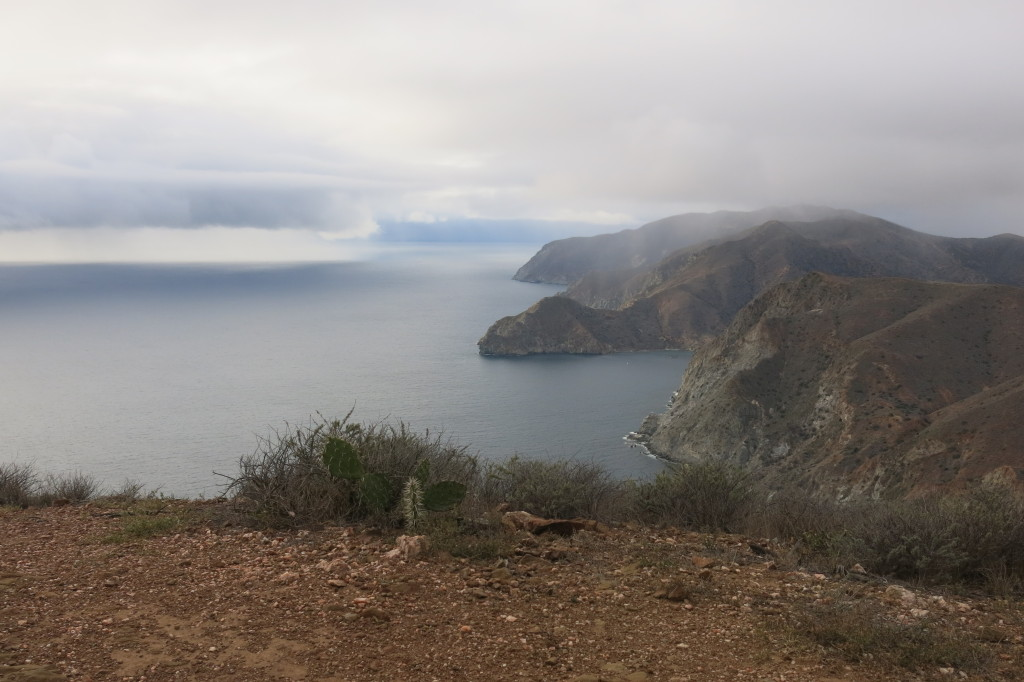 A rain storm rolling in over Catalina Island
