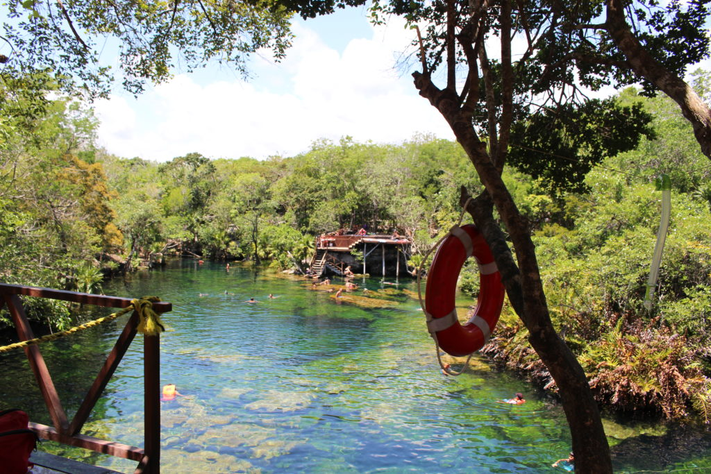 A view of the bathing deck from one side of Jardin del Eden cenote near Playa del Carmen