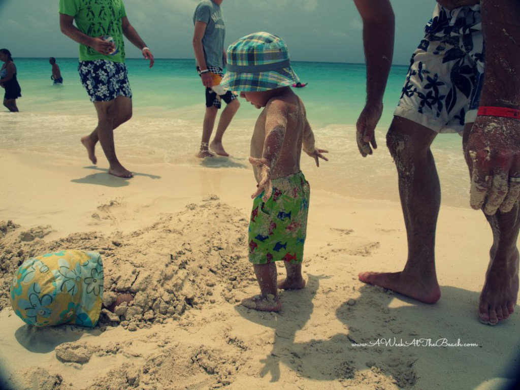 Toddler on the beach in Playa del Carmen