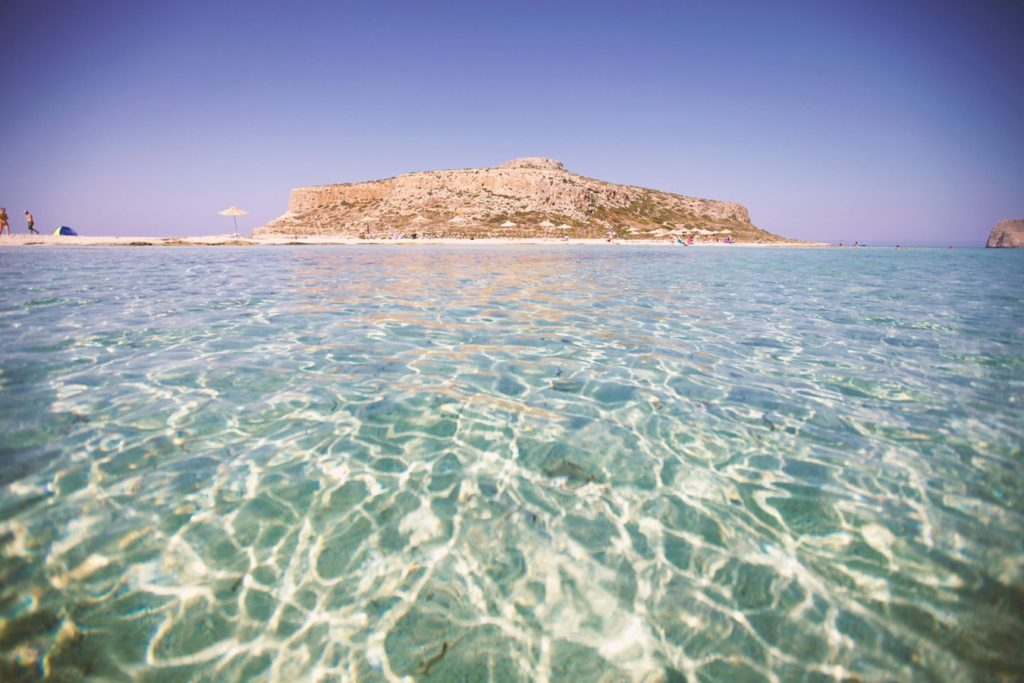 Crystal Clear water at Balos Beach in Crete, Greece