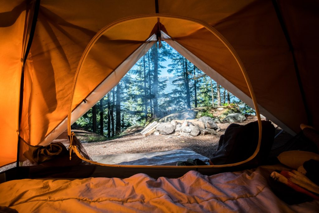 View looking at the woods from inside a tent with a sleeping bag