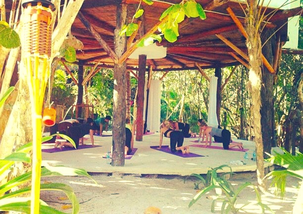 Yoga Class at the Casa Violeta hotel in Tulum, Mexico