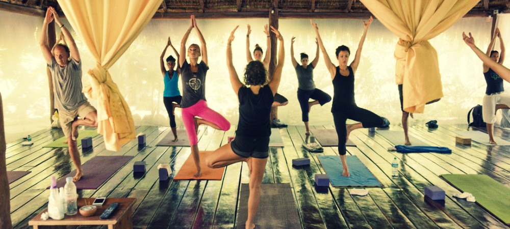 Yoga class at the Shala Yoga Hotel in Tulum Mexico